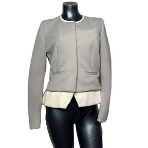 IRO Lamb Leather Trim Button Jacket Blazer Womens